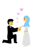 Muslim and muslimah bride couple, isolated on white. Vector muslim and muslimah bride couple, isolated on white royalty free illustration