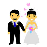 Muslim and muslimah bride couple, isolated on white. Vector muslim and muslimah bride couple, isolated on white vector illustration