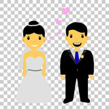 Muslim and muslimah bride couple, at transparent effect background