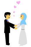 Muslim and muslimah bride couple, at white background. Vector muslim and muslimah bride couple, at white background stock illustration