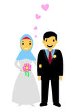 Muslim and muslimah bride couple, at white background