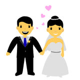 Muslim and muslimah bride couple, at white background. Vector muslim and muslimah bride couple, at white background royalty free illustration