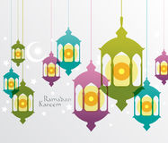 Vector Muslim Oil Lamp Graphics. Translation: Ramadan Kareem - May Generosity Bless You During The Holy Month Stock Photos