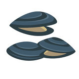 Vector mussel. Fresh and tasty seafood icon. Royalty Free Stock Photo