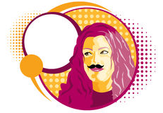 Mustache Girl Stock Images