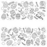 Vector Muster für Ostereier, Blumen, Ostern-Muster Farbtonseite des Häschens glückliche Stockfotografie