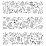 Vector Muster für Ostereier, Blumen, Ostern-Muster Farbtonseite des Häschens glückliche Stockbild