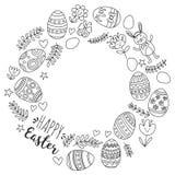Vector Muster für Ostereier, Blumen, Ostern-Muster Farbtonseite des Häschens glückliche Lizenzfreie Stockfotografie