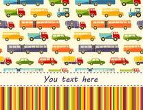 Vector Muster mit bunten Plattformwagenikonen und setzen Sie für Text Lizenzfreie Stockbilder