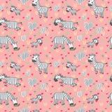 Vector Muster mit netten Zebras auf einem rosa Hintergrund Lizenzfreies Stockfoto