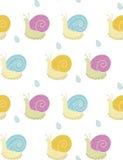 Vector Muster mit Spaßschnecken im Regen Stockfotografie