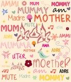 Vector Mutter-Tagesplakat mit Wörtern für Mutter herein Stockfotografie