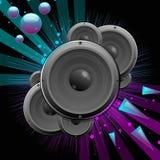 Vector muziek backgroud met sprekers en sterren Royalty-vrije Stock Afbeelding