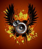 Vector muziekillustratie met vleugel en vlek Stock Afbeelding