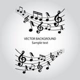 Vector muzieknotenachtergrond Stock Foto