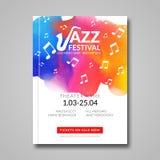 Vector muzikaal afficheontwerp De achtergrond van de waterverfvlek Jazz, het aanplakbordmalplaatje van de rotsstijl voor kaart, b stock illustratie