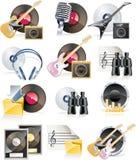 Vector muzikale pictogramreeks Stock Afbeelding