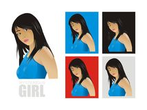 Vector mysterious girl. Vector white isolated mysterious girl Royalty Free Stock Images