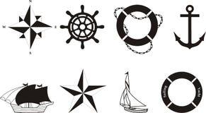 Vector náutico y símbolos rasterized Imagen de archivo libre de regalías
