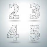 Vector números à moda das letras do alfabeto da malha 2 3 4 5 ilustração stock