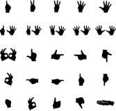 Vector números e símbolos das silhuetas da mão Fotografia de Stock