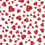 Vector naadloos abstract patroon Rode harten op witte achtergrond Stock Foto