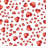 Vector naadloos abstract patroon Rode harten op witte achtergrond Stock Afbeeldingen