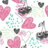 Vector naadloos artistiek hand getrokken patroon Kersen, krabbelharten stock illustratie