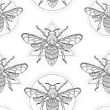 Vector naadloos bijenpatroon Stock Foto's