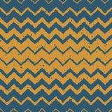 Vector Naadloos Blauw Geel Halftone Zigzag Vervormd de Lijnen Grungy Etnisch Patroon van de Kleurenhand Getrokken Horizontaal Gra Royalty-vrije Stock Foto