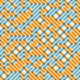 Vector Naadloos Blauw Oranje Snijdend Lijnennet Maze Pattern Royalty-vrije Stock Afbeelding