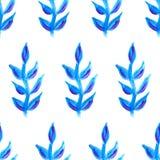 Vector naadloos bloemenpatroon Blauwe installaties en bloemen Stock Afbeelding