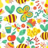 Vector naadloos bloemenpatroon De zomersamenstelling met honeycom Stock Foto