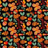 Vector naadloos bloemenpatroon De zomersamenstelling met honeycom Stock Foto's