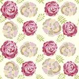 Vector naadloos bloemenpatroon met hand getrokken pioenen Stock Illustratie