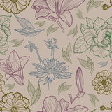 Vector naadloos bloemenpatroon met herbarium Stock Afbeeldingen