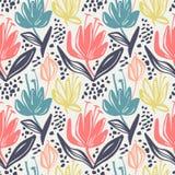 Vector naadloos bloemenpatroon met stodde kleuren minimalistic bloemen op lichte achtergrond, het botanische ontwerp van de de le royalty-vrije illustratie