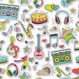 Vector naadloos 3d muziekpatroon De hand trekt, krabbels Stock Afbeelding