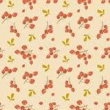Vector naadloos de herfstpatroon met lijsterbessen op oranje achtergrond stock afbeelding