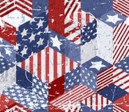 Vector naadloos de vlagpatroon van de waterverfv.s. 3d isometrische kubussenachtergrond in Amerikaanse vlagkleuren vector illustratie