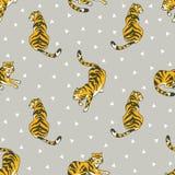 Vector naadloos die patroon met tijgers en driehoeken op de grijze achtergrond worden geïsoleerd vector illustratie