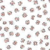 Vector naadloos die patroon van hand-drawn kinderen` s alfabet met bloemen wordt verfraaid 3D krabbelbrieven ABC-doopvontachtergr Stock Foto's