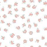 Vector naadloos die patroon van hand-drawn kinderen` s alfabet met bloemen wordt verfraaid 3D krabbelbrieven ABC-doopvontachtergr Royalty-vrije Stock Foto's
