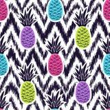 Vector naadloos etnisch patroon met ananassen royalty-vrije illustratie