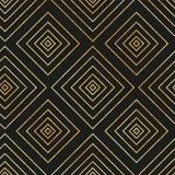 Vector naadloos geometrisch patroon met gouden diamant op zwarte achtergrond stock illustratie