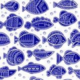 Vector naadloos gestileerd vissenpatroon Royalty-vrije Stock Fotografie