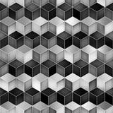 Vector Naadloos Greyscale van de de Vormruit van de Gradiëntkubus het Net Geometrisch Patroon Stock Foto's