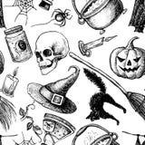Vector naadloos Halloween-patroon Stock Afbeeldingen