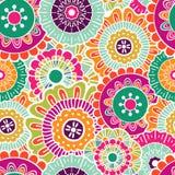 Vector naadloos hand-drawn patroon met bloemen en bladeren Royalty-vrije Stock Afbeelding