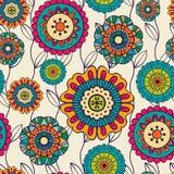 Vector naadloos hand-drawn patroon met bloemen en bladeren Royalty-vrije Stock Foto's